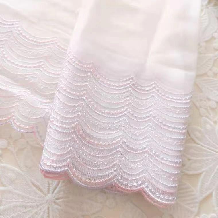 チュールレース 刺繍 レース生地 波紋刺繍