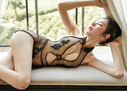 セクシー薔薇刺繍ランジェリー チャイナドレス エロい下着 コスプレ AN02黒