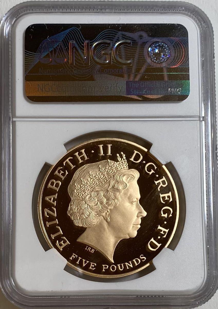 イギリス金貨 2008 5ポンド エリザベス1世 NGC PF70UC 発行枚数1500枚 NGC最高鑑定27枚_画像2