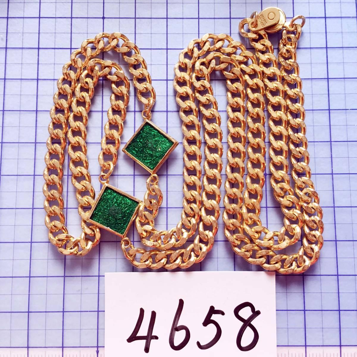 美品 エナメル ゴールド ロングネックレス NO.4658