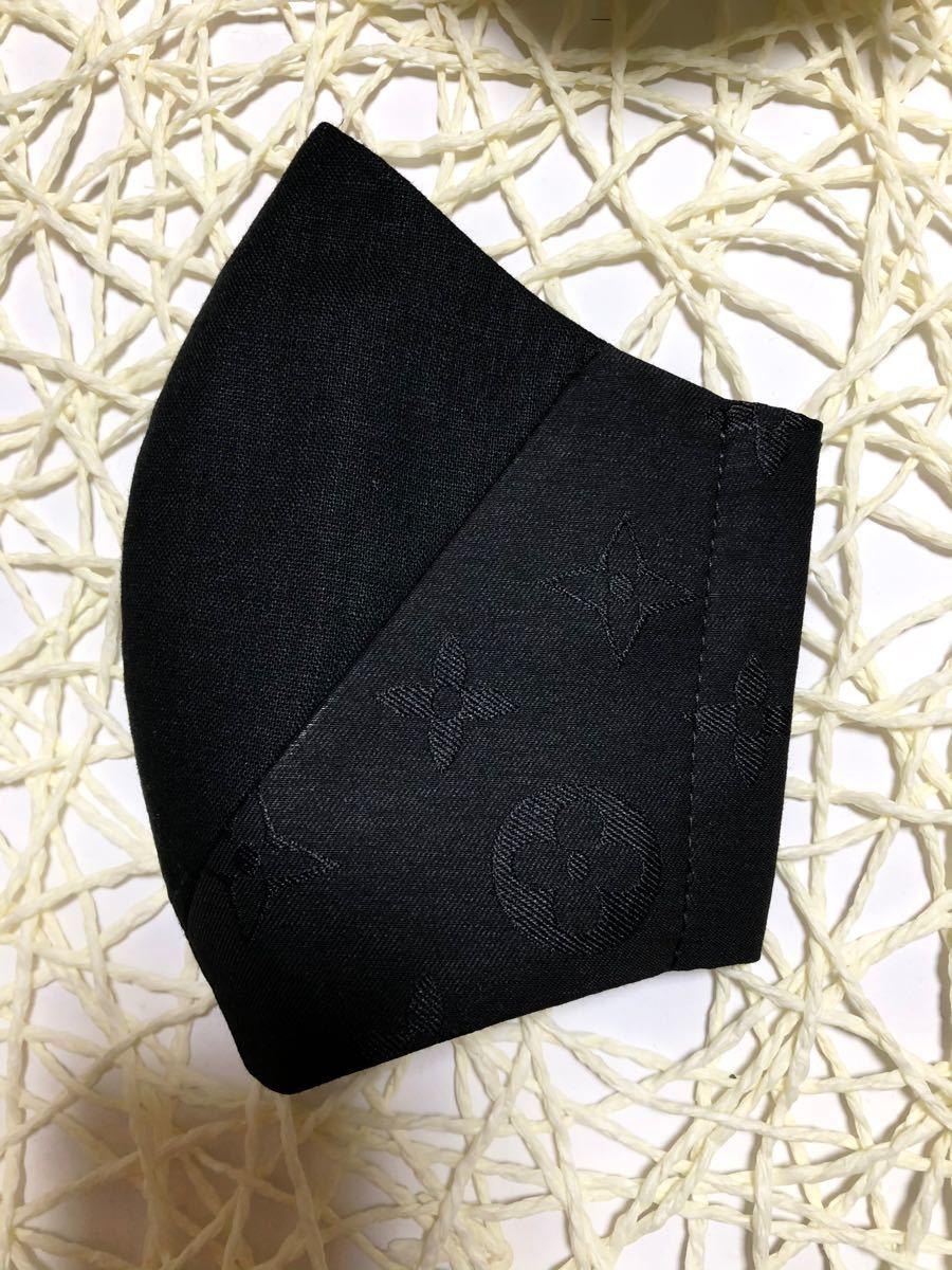 立体インナーハーフリネン黒切り替えモノグラム柄黒
