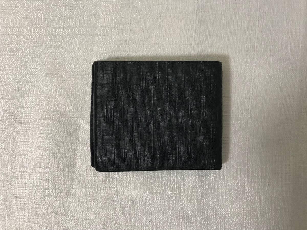 美品本物グッチGUCCI本革レザーGG柄PVCナイロン二つ折りサイフ財布札入れカードケース黒ブラックビジネストラベル旅行メンズレディース_画像2