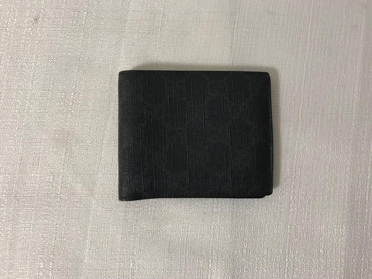 美品本物グッチGUCCI本革レザーGG柄PVCナイロン二つ折りサイフ財布札入れカードケース黒ブラックビジネストラベル旅行メンズレディース_画像1
