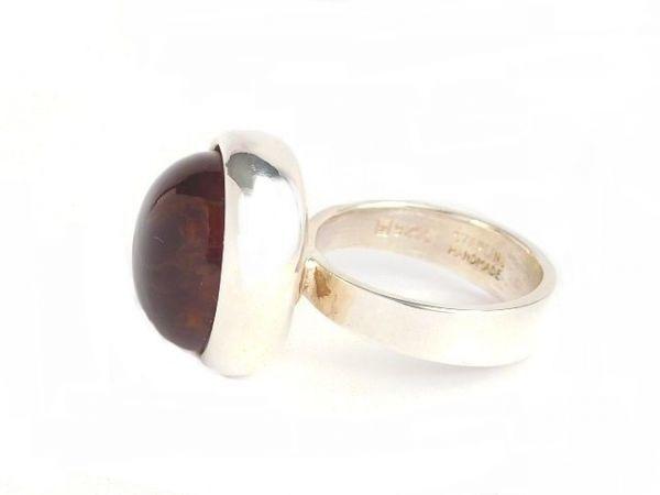 北欧 デンマーク製 1960年代 ヴィンテージ Henning Ulrichsen 琥珀 アンバー モダン シルバー 銀製 カボション リング 指輪 13号 /14381_画像5