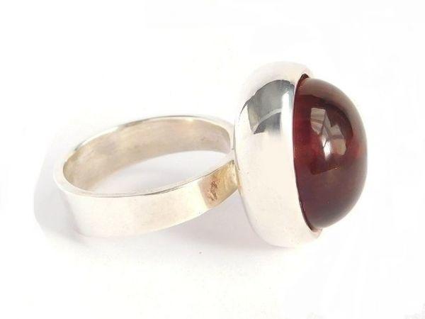 北欧 デンマーク製 1960年代 ヴィンテージ Henning Ulrichsen 琥珀 アンバー モダン シルバー 銀製 カボション リング 指輪 13号 /14381_画像4
