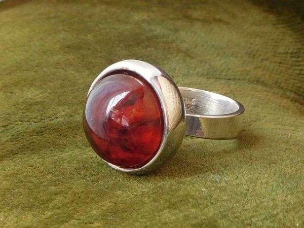 北欧 デンマーク製 1960年代 ヴィンテージ Henning Ulrichsen 琥珀 アンバー モダン シルバー 銀製 カボション リング 指輪 13号 /14381_画像8