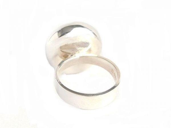 北欧 デンマーク製 1960年代 ヴィンテージ Henning Ulrichsen 琥珀 アンバー モダン シルバー 銀製 カボション リング 指輪 13号 /14381_画像6