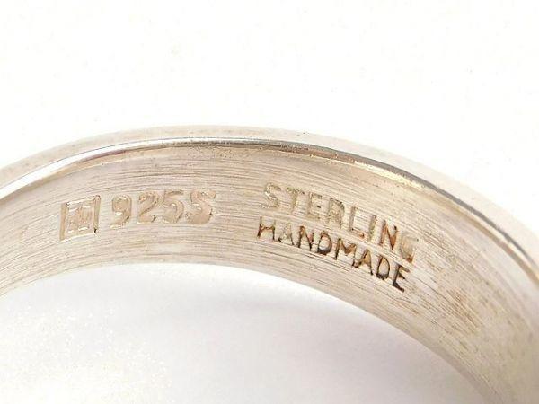 北欧 デンマーク製 1960年代 ヴィンテージ Henning Ulrichsen 琥珀 アンバー モダン シルバー 銀製 カボション リング 指輪 13号 /14381_画像7