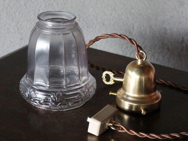 USAアメリカヴィンテージガラスシェードペンダントライト|アンティークライト吊下げ照明電笠ボタニカル唐草模様シェードホルダー&コード付_このセットがお手元に届きます