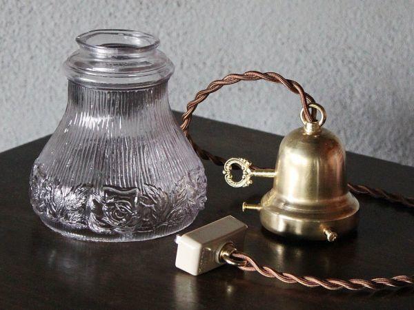USAアメリカヴィンテージパープルガラスシェードペンダントライト|アンティークライト吊下げ照明電笠ローズ薔薇シェードホルダー&コード付_このセットがお手元に届きます