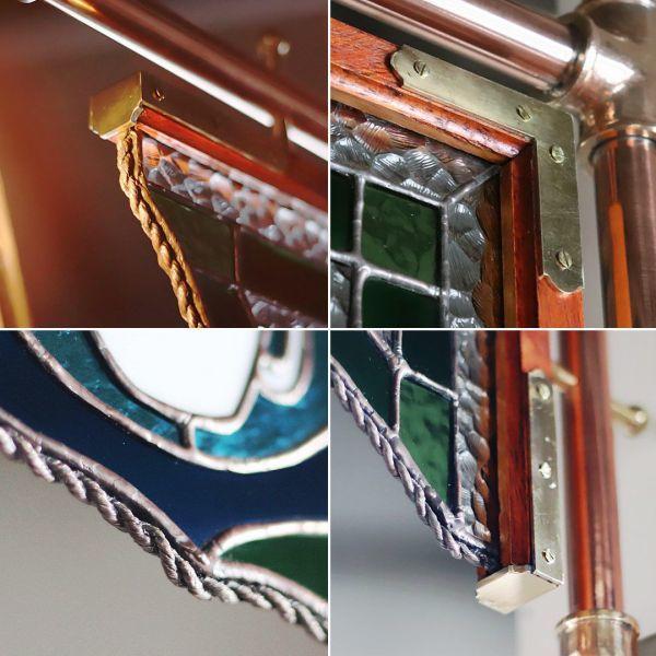 ステンドグラスCAFEカフェサイン屋内看板照明 アンティーク&インダストリアル工業系サインライト看板ランプ◆色ガラスサインライトパネル_細部の真鍮金具やロープ状の飾り罫も製作