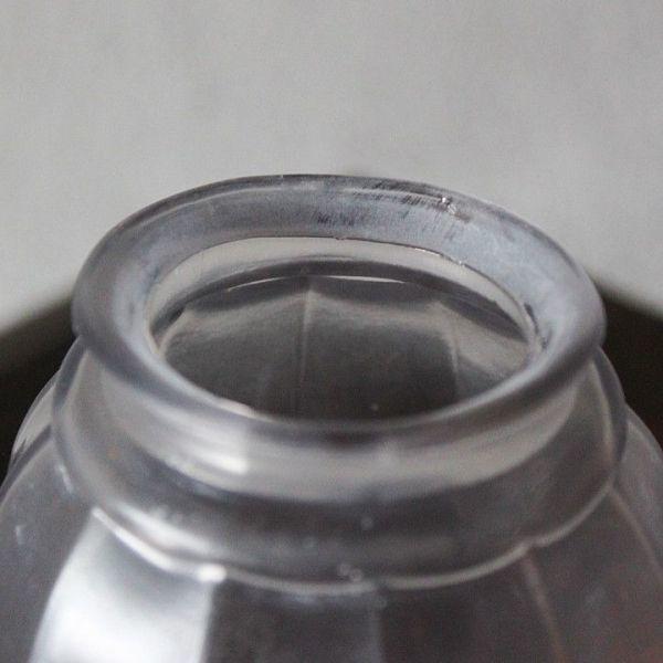 USAアメリカヴィンテージガラスシェードペンダントライト|アンティークライト吊下げ照明電笠ボタニカル唐草模様シェードホルダー&コード付_製造時に出来た口径の歪みあり