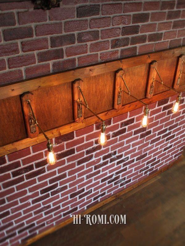 [ワンオフ・少量生産]インダストリアル工業系ウッド&ブラスブラケットライト 木製&真鍮壁掛け照明ウォールランプレトロ照明店舗什器_即決価格は1点の価格です