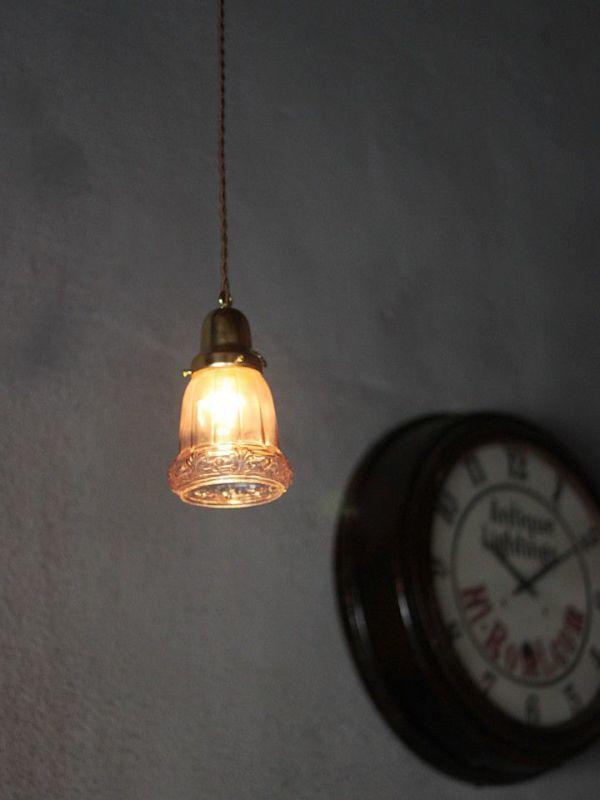 USAアメリカヴィンテージガラスシェードペンダントライト|アンティークライト吊下げ照明電笠ボタニカル唐草模様シェードホルダー&コード付_アンティークガラスペンダントライト照明