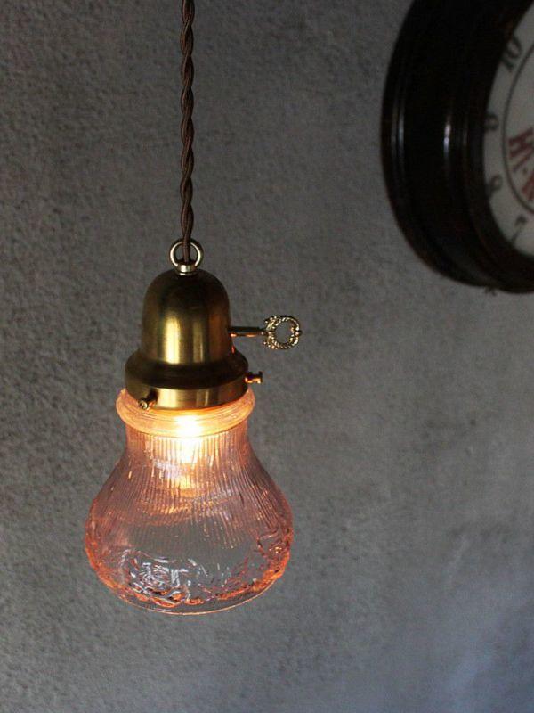 USAアメリカヴィンテージパープルガラスシェードペンダントライト|アンティークライト吊下げ照明電笠ローズ薔薇シェードホルダー&コード付_アンティークガラスペンダントライト照明