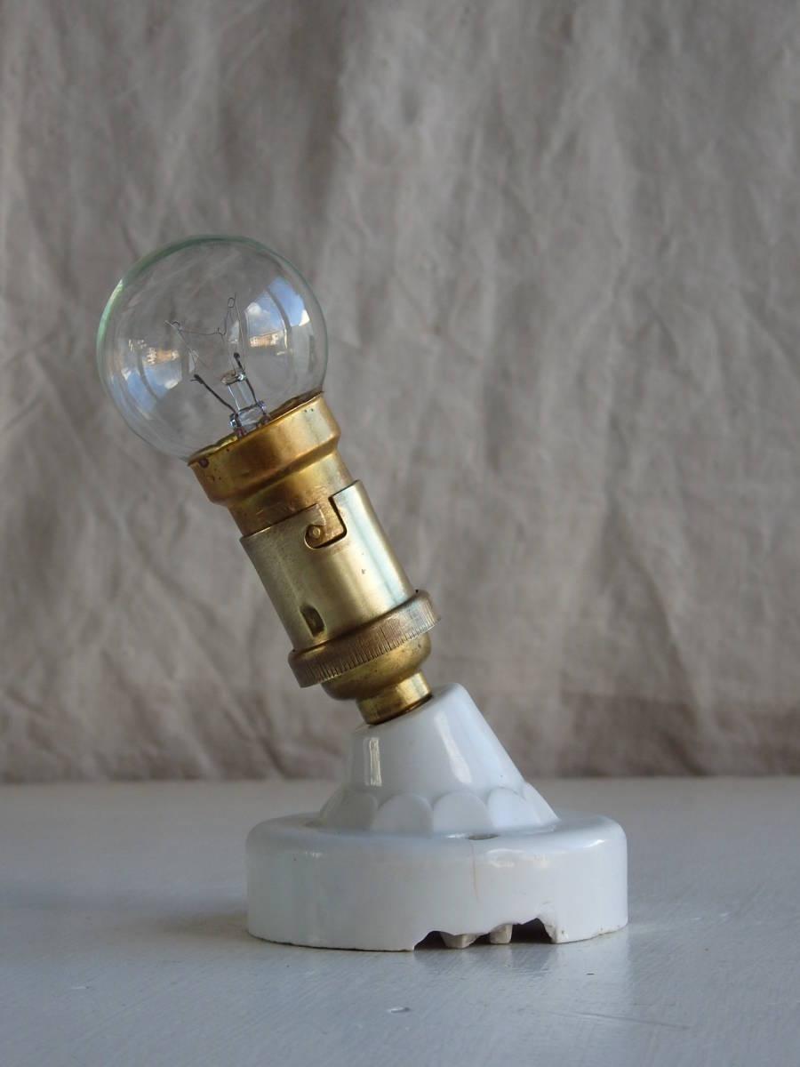 フランスアンティーク 陶器 ライト 壁付け ウォール インダストリアル アトリエ 工業系 ランプ 電気 照明 蚤の市 ブロカント9761_画像3