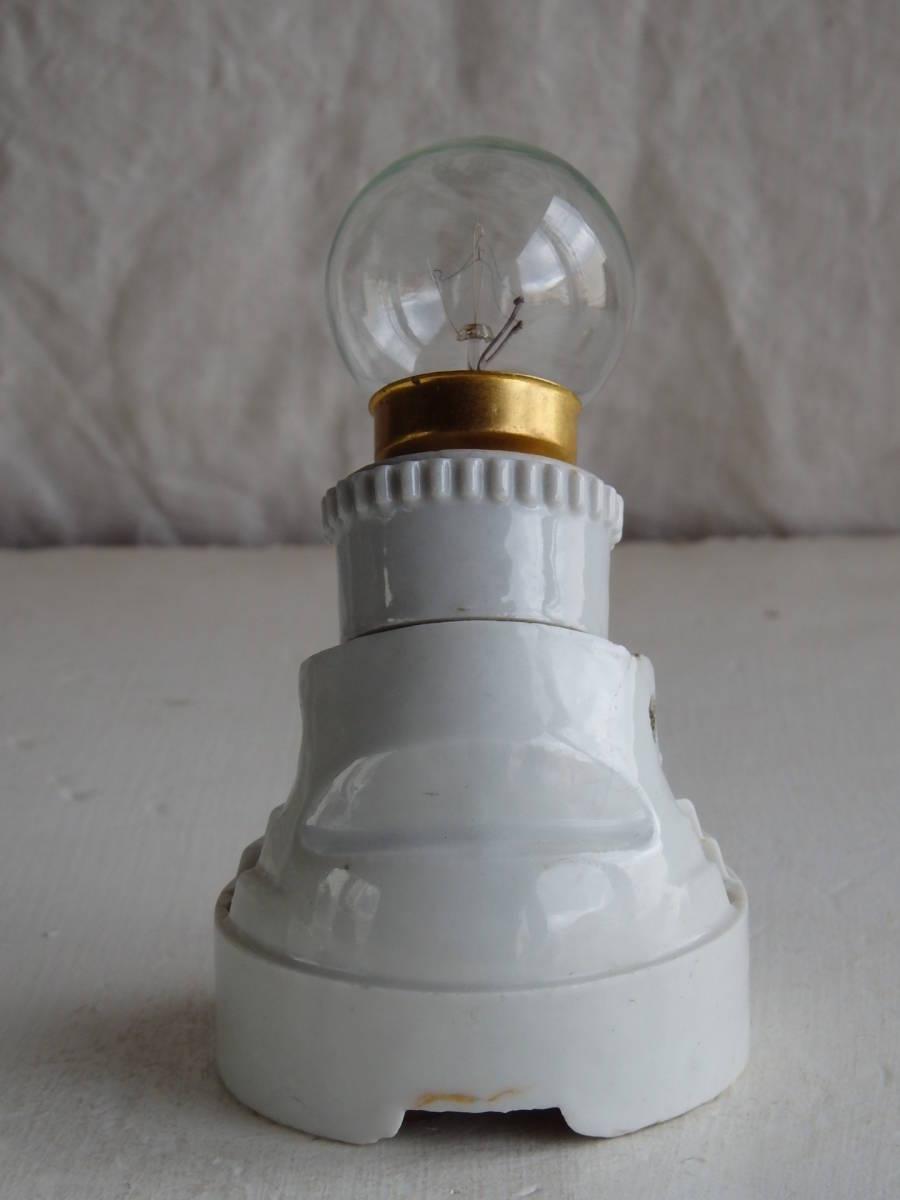 フランスアンティーク 陶器 ライト 壁付け ウォール インダストリアル アトリエ 工業系 ランプ 電気 照明 蚤の市 ブロカント 白_画像4
