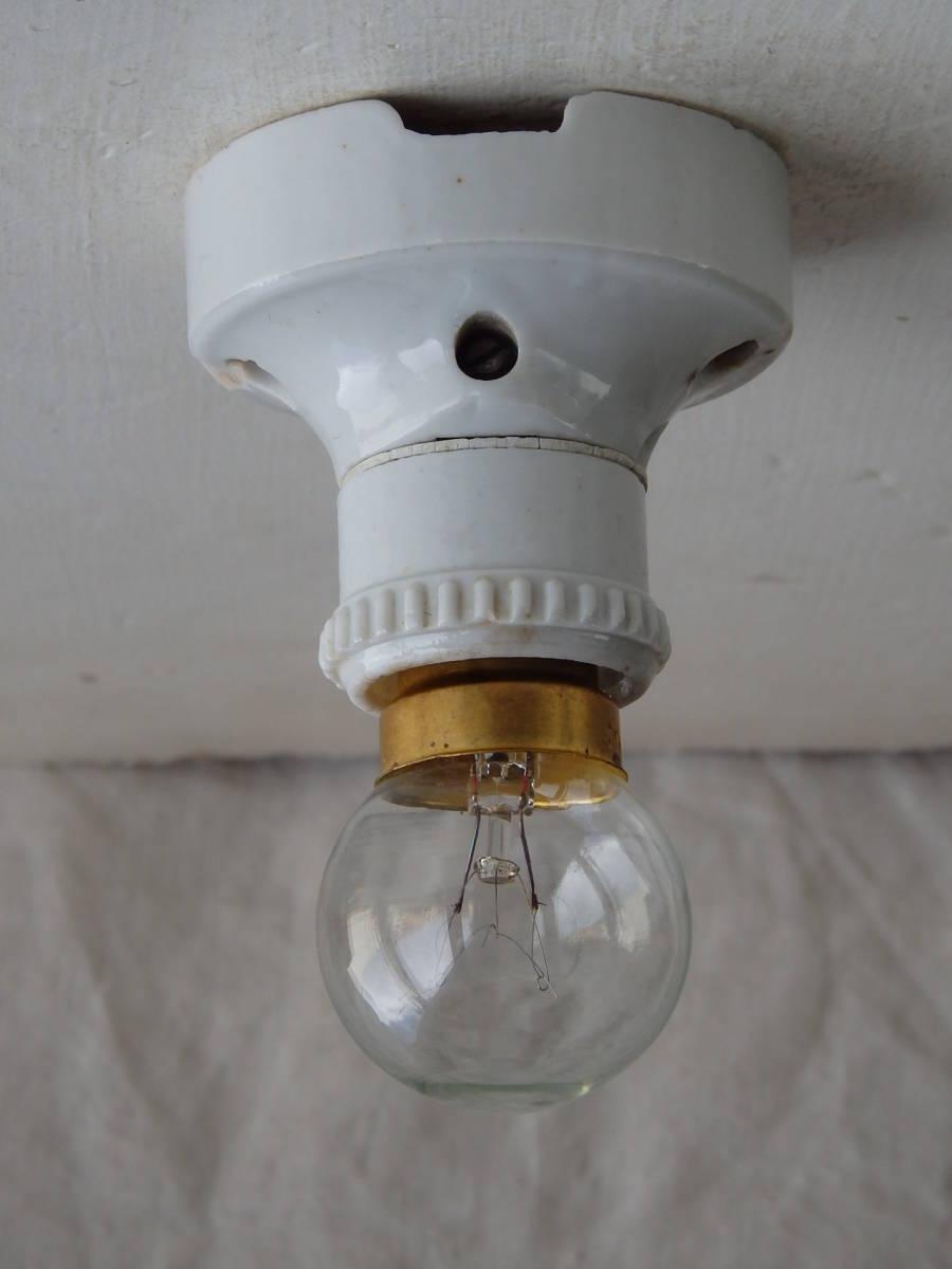 フランスアンティーク 陶器 ライト 壁付け ウォール インダストリアル アトリエ 工業系 ランプ 電気 照明 蚤の市 ブロカント 白_画像6
