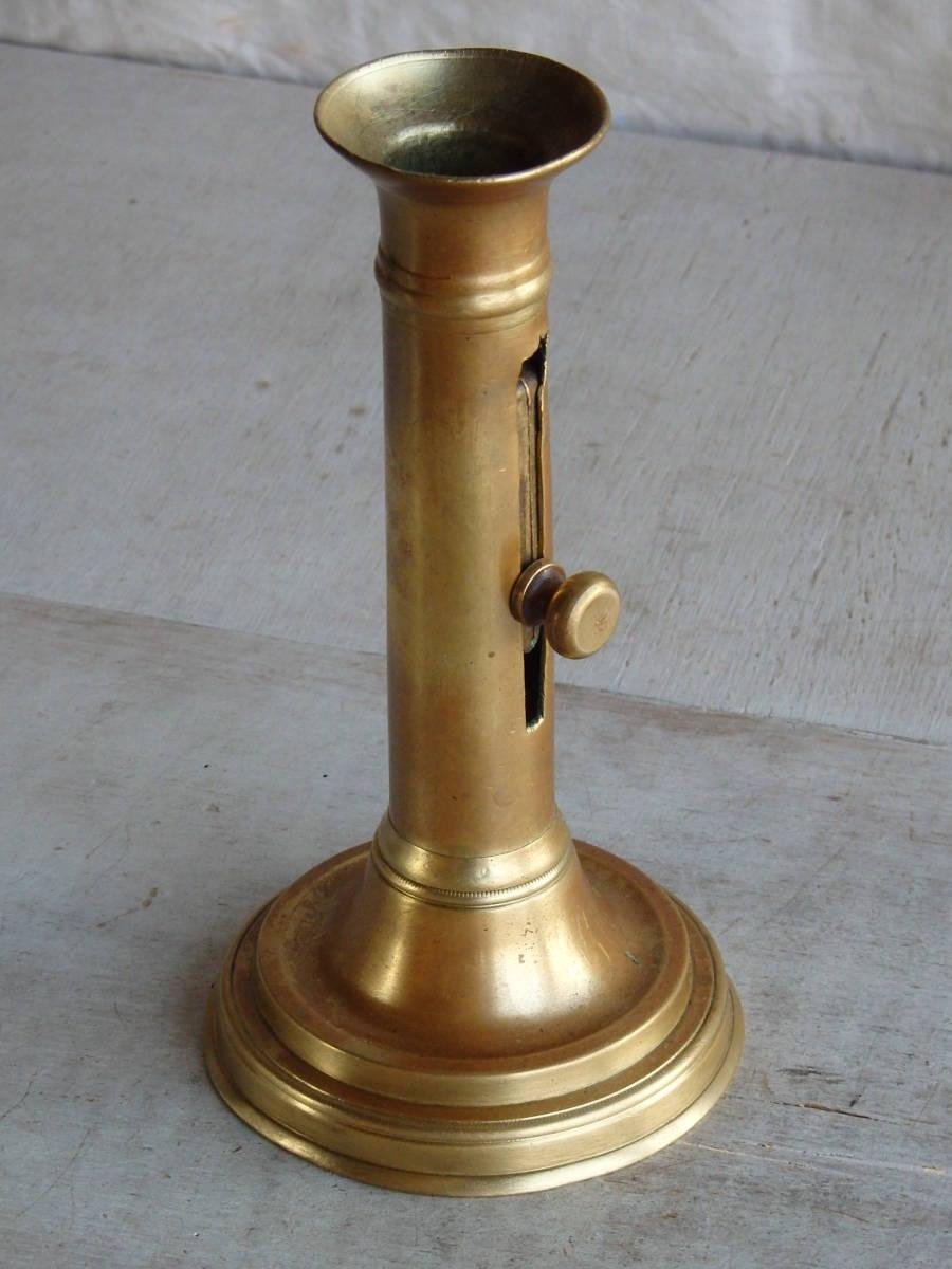 フランスアンティーク キャンドルスタンド ブロンズ 青銅 ゴールド 蝋燭立て 燭台 ブロカント 蚤の市 上下可動 インテリア _画像2