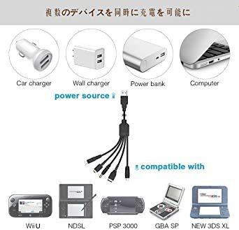 任天堂 5 in 1 USB 充電ケーブル ニンテンドー New 3DS(XL/LL), 3DS(XL/LL), 2DS, DS_画像5