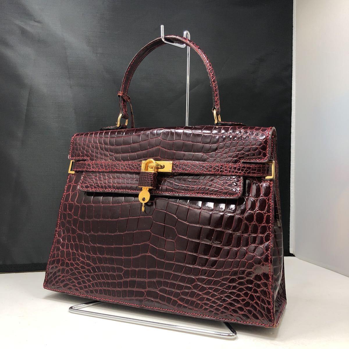 1円~ MORABITO モラビト スカラ 28cm クロコダイル ケリー型 ハンドバッグ