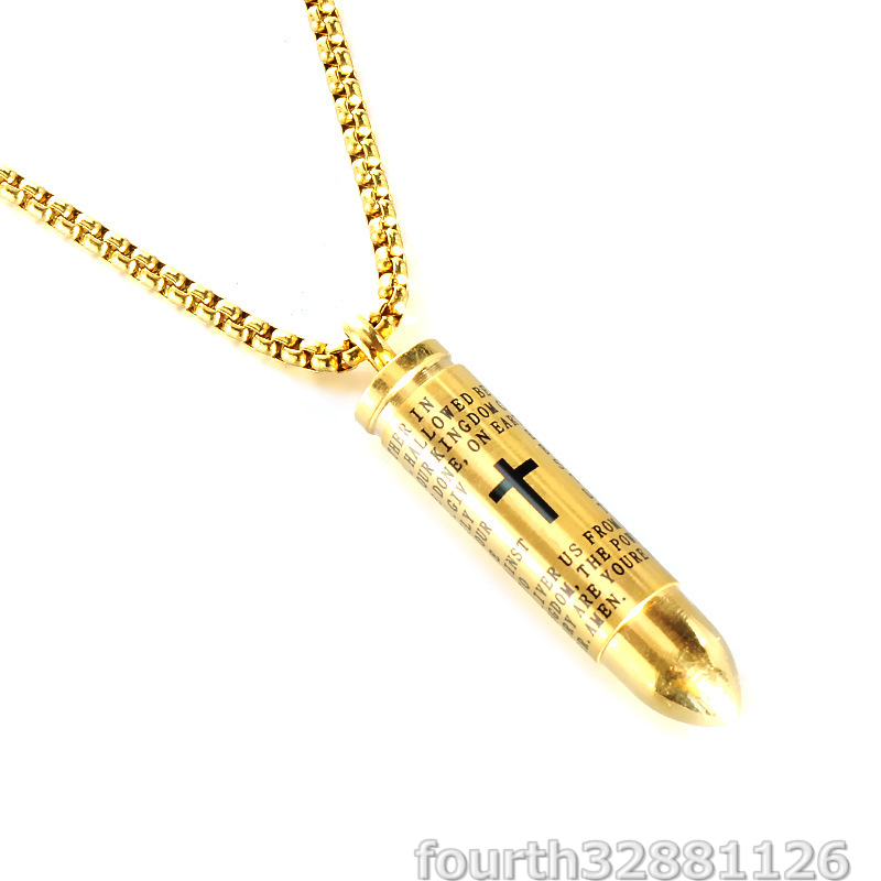 AMERICA★ネックレス 銃弾形 ペンダント ネックレス メンズ 男性用 アクセサリー 超豪華 コレクション ギフト 3色選択可 ゴールド_画像1