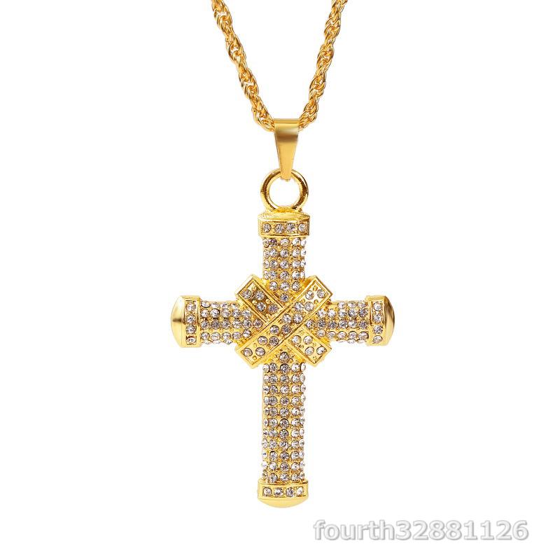 ネックレス 十字架 ペンダント メンズ ダイヤモンド ダイヤ嵌める アメカジジュエリー アクセサリー ギフト贅沢 超豪華2色選択可ゴールド_画像1