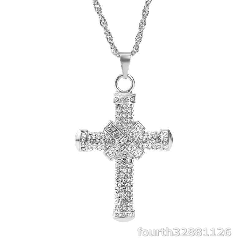 ネックレス 十字架 ペンダント メンズ ダイヤモンド ダイヤ嵌める アメカジジュエリー アクセサリー ギフト贅沢 超豪華2色選択可ゴールド_画像2