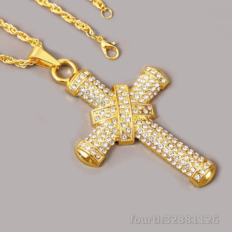 ネックレス 十字架 ペンダント メンズ ダイヤモンド ダイヤ嵌める アメカジジュエリー アクセサリー ギフト贅沢 超豪華2色選択可ゴールド_画像3