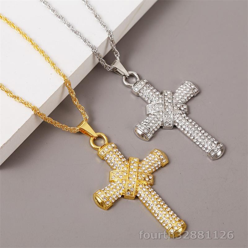 ネックレス 十字架 ペンダント メンズ ダイヤモンド ダイヤ嵌める アメカジジュエリー アクセサリー ギフト贅沢 超豪華2色選択可ゴールド_画像4