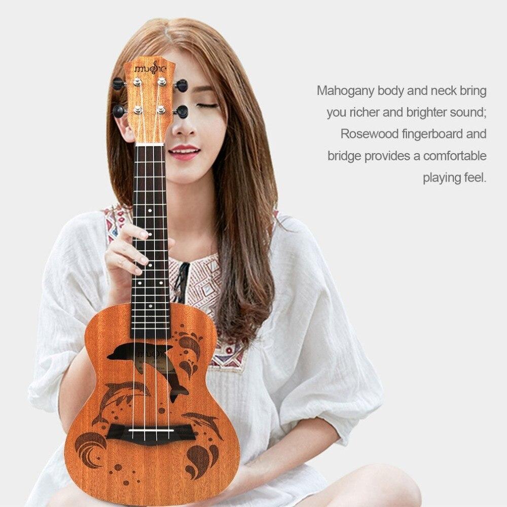 21 インチ プロフェッショナル サペリイルカパターン ウクレレ ギター マホガニーネック チューニング ペグ 4弦 ウッド ギフト_画像1