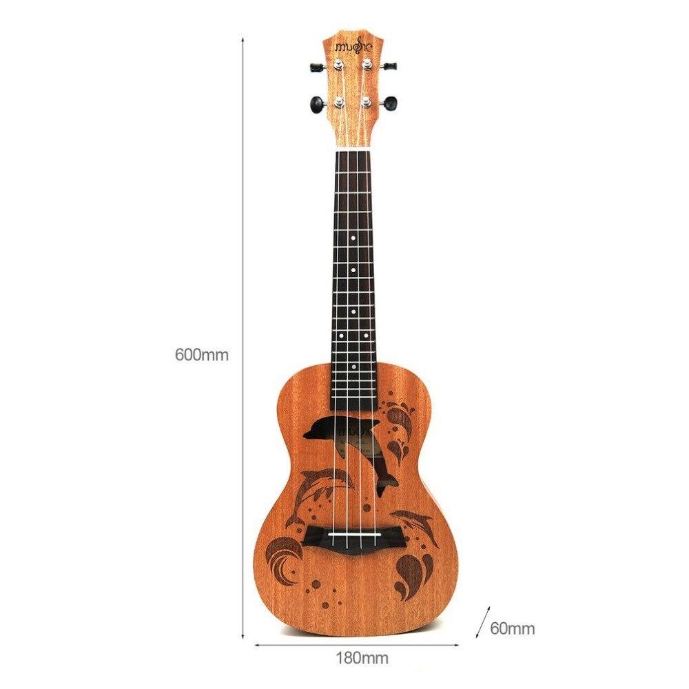 21 インチ プロフェッショナル サペリイルカパターン ウクレレ ギター マホガニーネック チューニング ペグ 4弦 ウッド ギフト_画像2