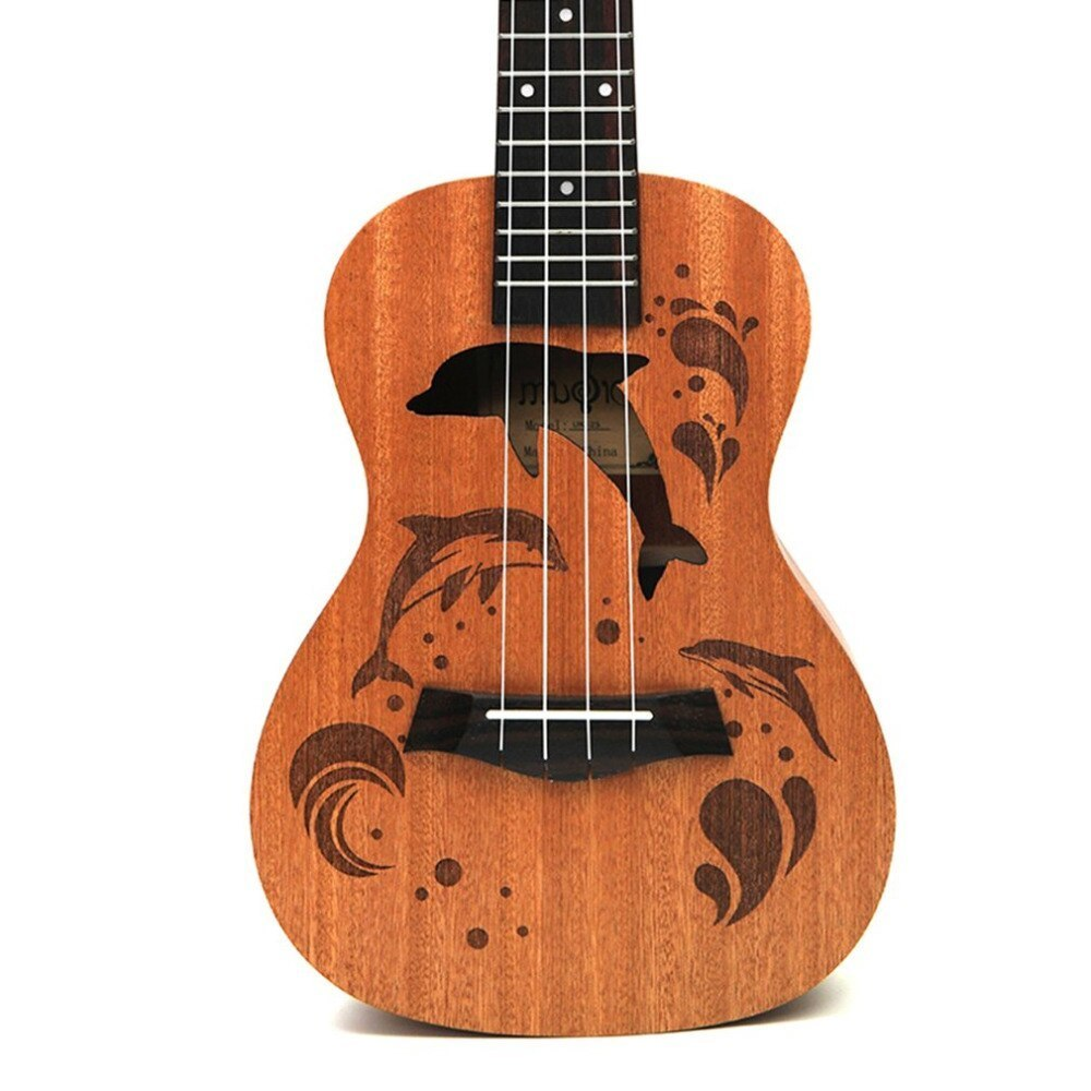 21 インチ プロフェッショナル サペリイルカパターン ウクレレ ギター マホガニーネック チューニング ペグ 4弦 ウッド ギフト_画像3