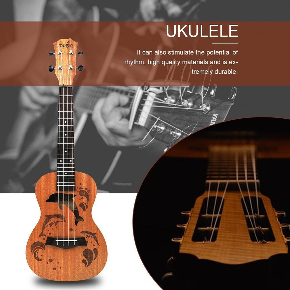 21 インチ プロフェッショナル サペリイルカパターン ウクレレ ギター マホガニーネック チューニング ペグ 4弦 ウッド ギフト_画像6
