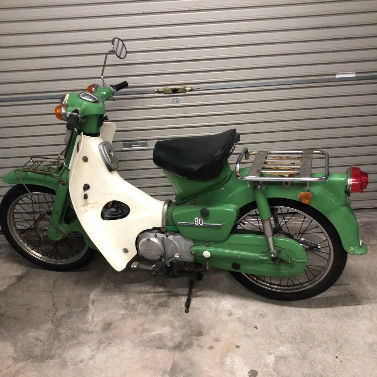 「実働!調子良!激レアヴィンテージバイク本物HONDA C90 ホンダ行灯カブ90cc純正スタイル当時物 緑グリーン昭和原付1960年代1970年代?」の画像2