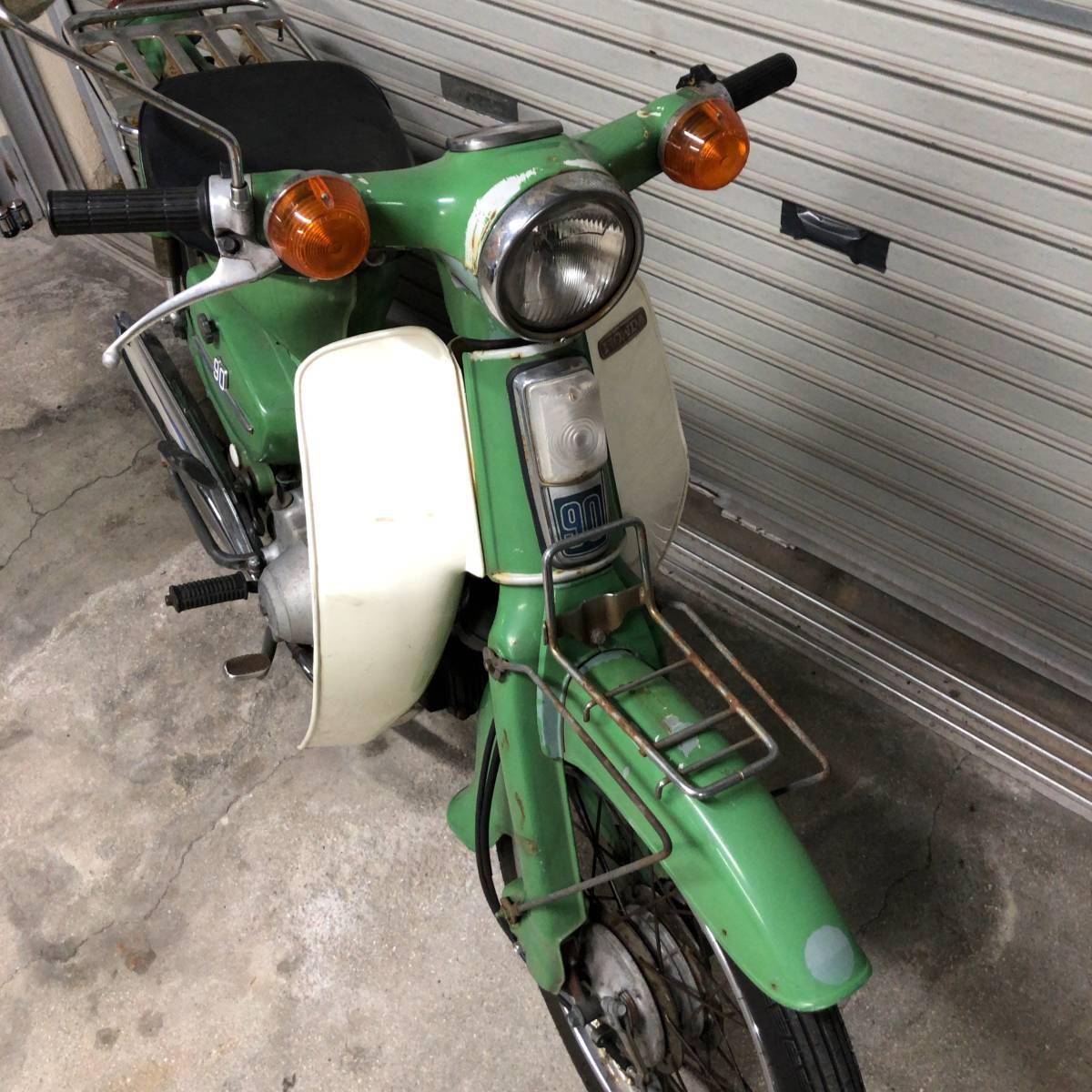 「実働!調子良!激レアヴィンテージバイク本物HONDA C90 ホンダ行灯カブ90cc純正スタイル当時物 緑グリーン昭和原付1960年代1970年代?」の画像3