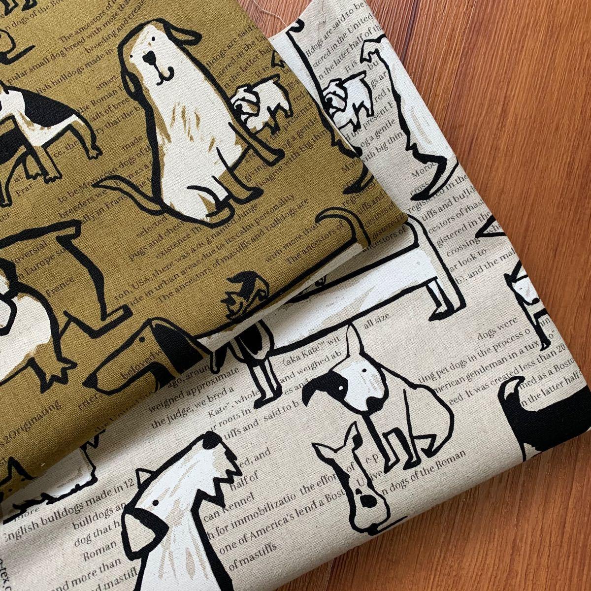 綿麻キャンバス 北欧 ドッグストーリー 英字・ロゴ・犬柄 リネン 2色セット 計1m