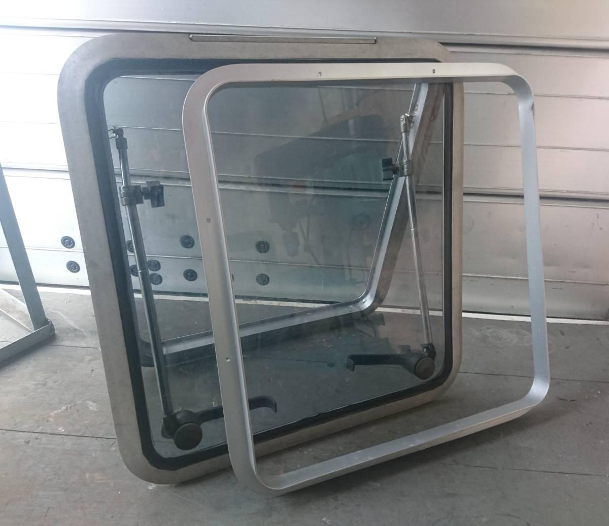 ハッチ トリムリング付き アルミハッチ 窓 強化ガラス 中古_画像1