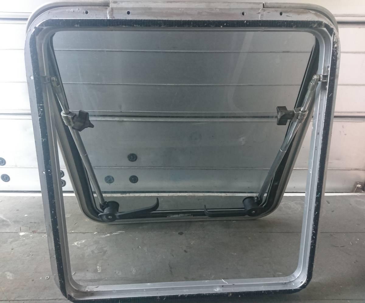 ハッチ トリムリング付き アルミハッチ 窓 強化ガラス 中古_画像2
