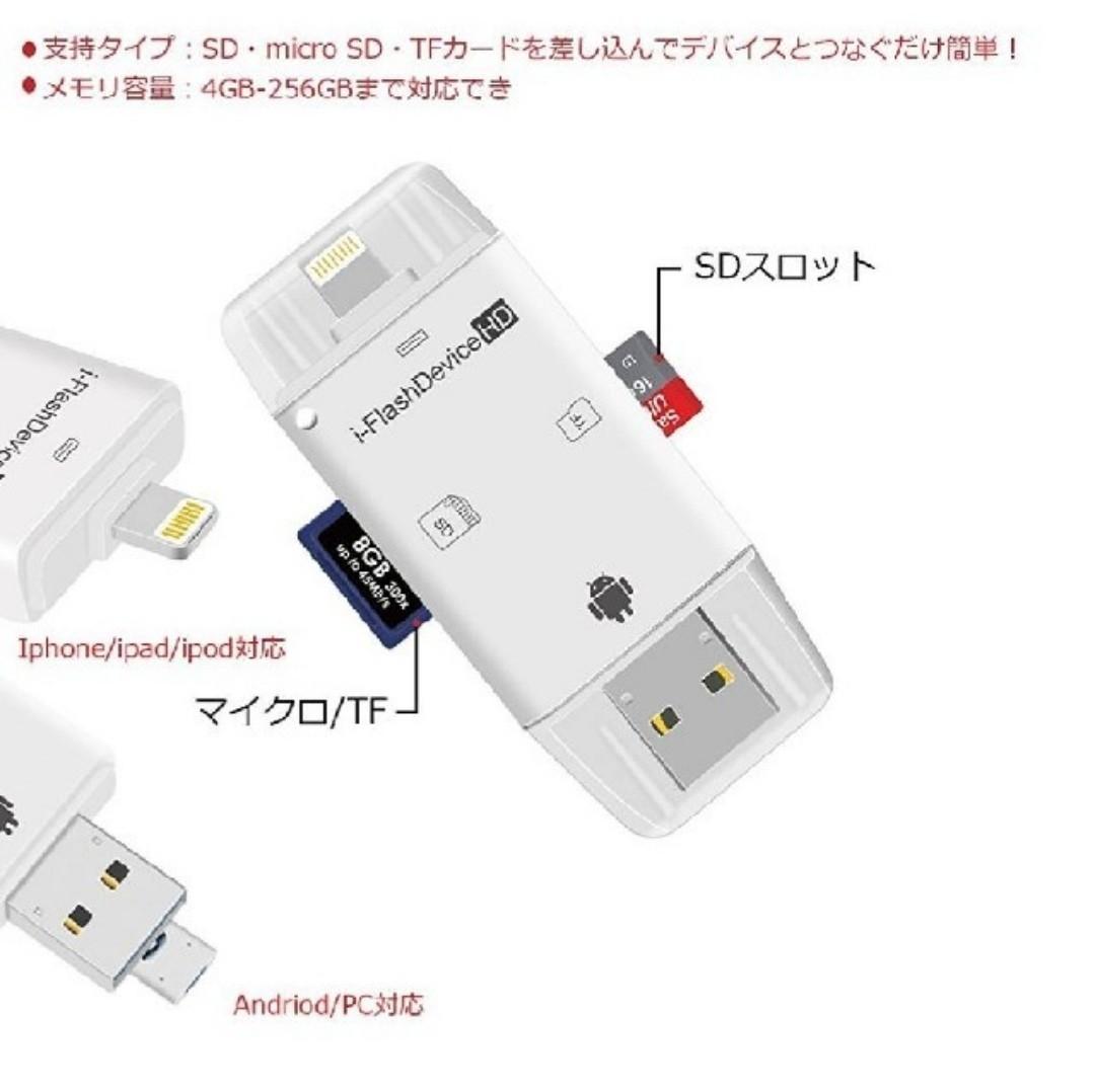 iPhone SDカードリーダー 外部 メモリー USBメモリ アダプター
