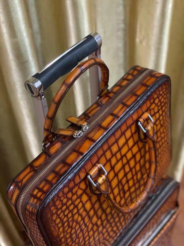 超人気 ワニ革保証 クロコダイル レザー 本革 手提げ ブリーフケース ビジネス トート メンズ ハンドバッグ 通勤用 出張用 鞄 A4/PC対応_画像9