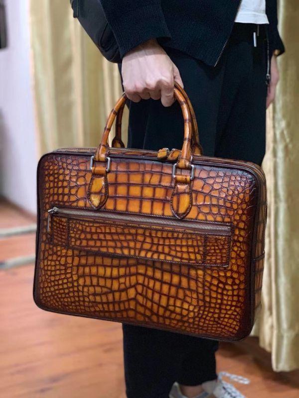 超人気 ワニ革保証 クロコダイル レザー 本革 手提げ ブリーフケース ビジネス トート メンズ ハンドバッグ 通勤用 出張用 鞄 A4/PC対応_画像2