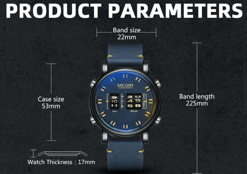 F0321:クォーツ 人気 腕時計 ラグジュアリー ドラムローラー バンドウォッチ メンズ ミリタリー スポーツ ブラウン レザー 多機能_画像6
