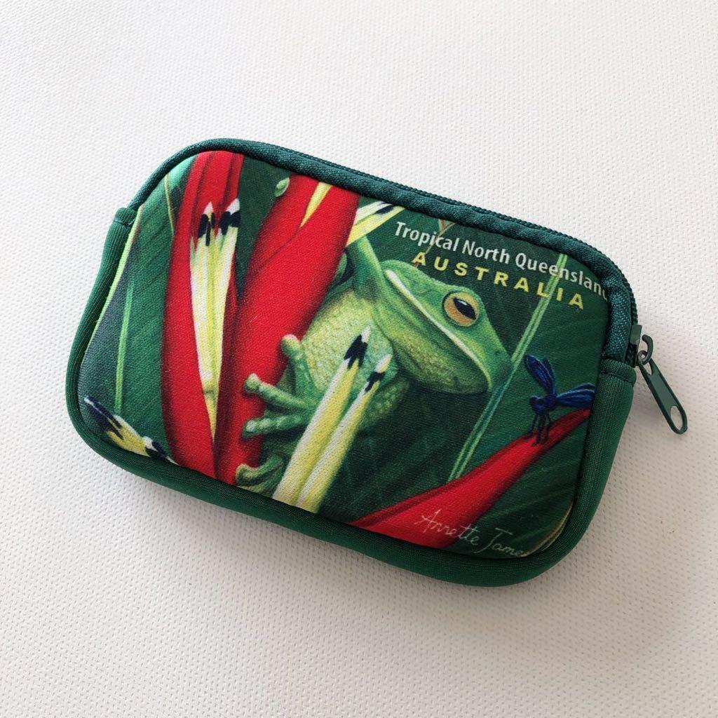 オーストラリア お土産 小物入れ ミニポーチ ポーチ ファスナーポーチ 小銭入れ グリーン 爬虫類_画像1