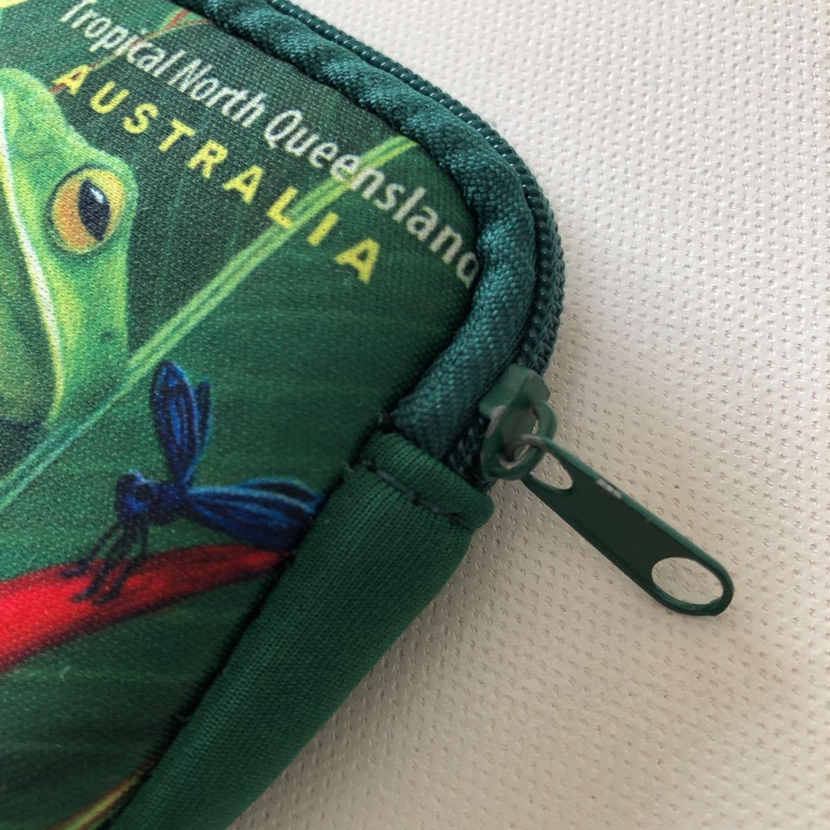 オーストラリア お土産 小物入れ ミニポーチ ポーチ ファスナーポーチ 小銭入れ グリーン 爬虫類_画像2
