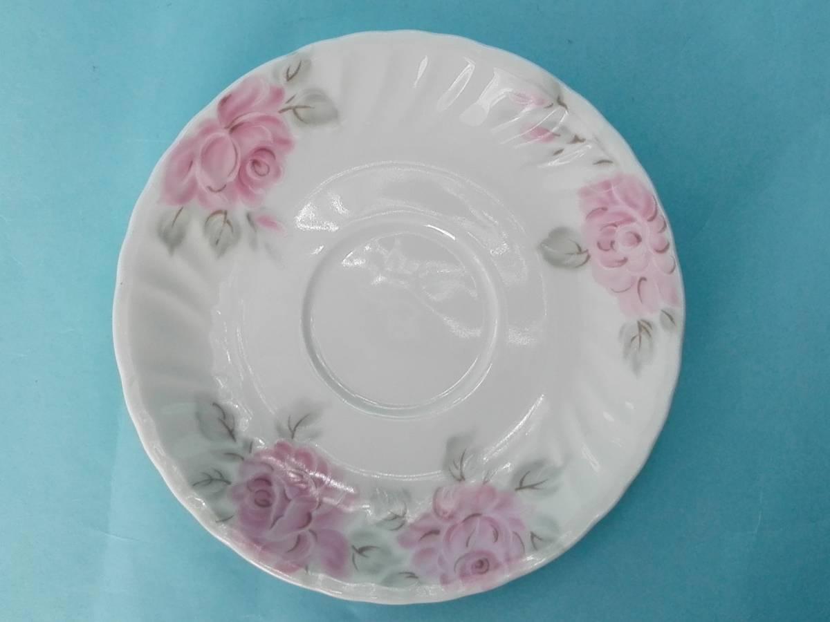 White Bome ホワイト ボーン【kcme】ピンク ローズ柄 カップ&ソーサ 5客セット 未使用 (おまけスプーン)_画像10