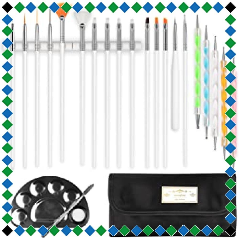 Morefine ネイルブラシ ジェルネイルブラシ ネイル筆15本 カラードットペン5本 ネイルアートブラシ用ホルダー2本、パレ_画像1