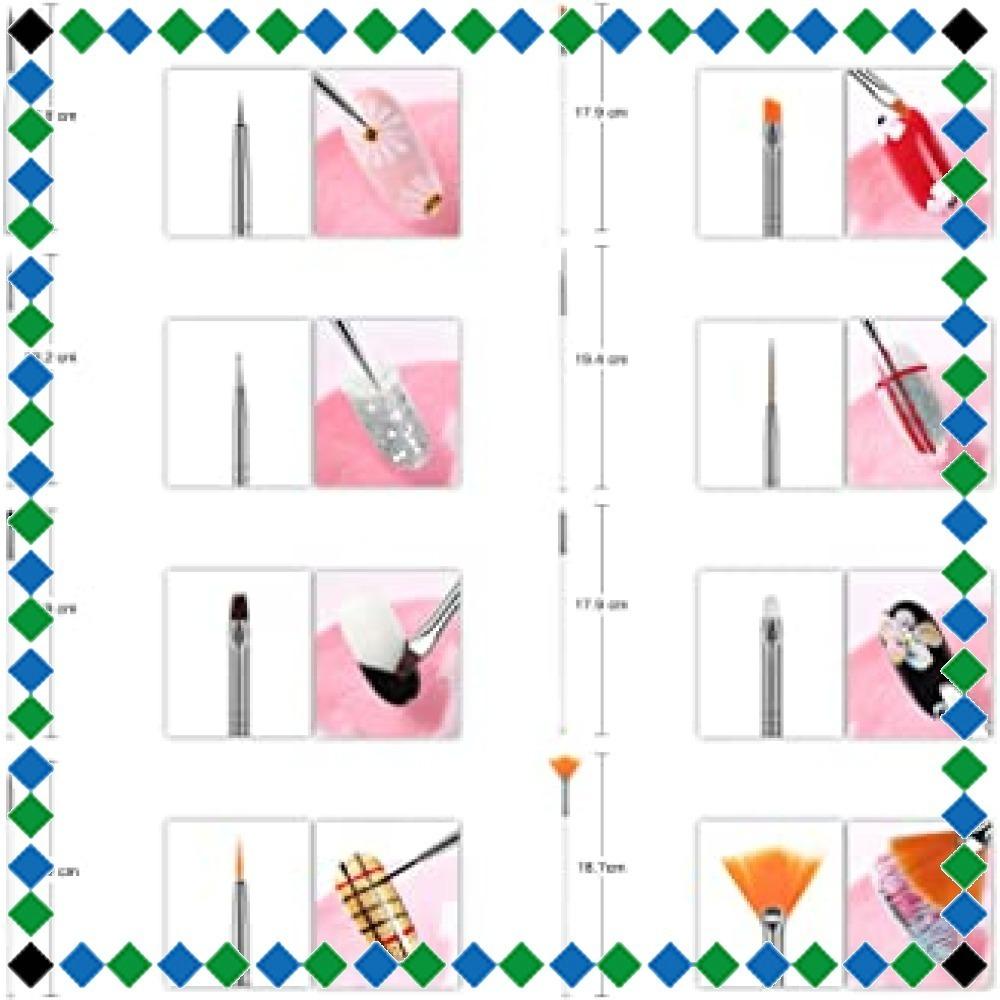 Morefine ネイルブラシ ジェルネイルブラシ ネイル筆15本 カラードットペン5本 ネイルアートブラシ用ホルダー2本、パレ_画像3