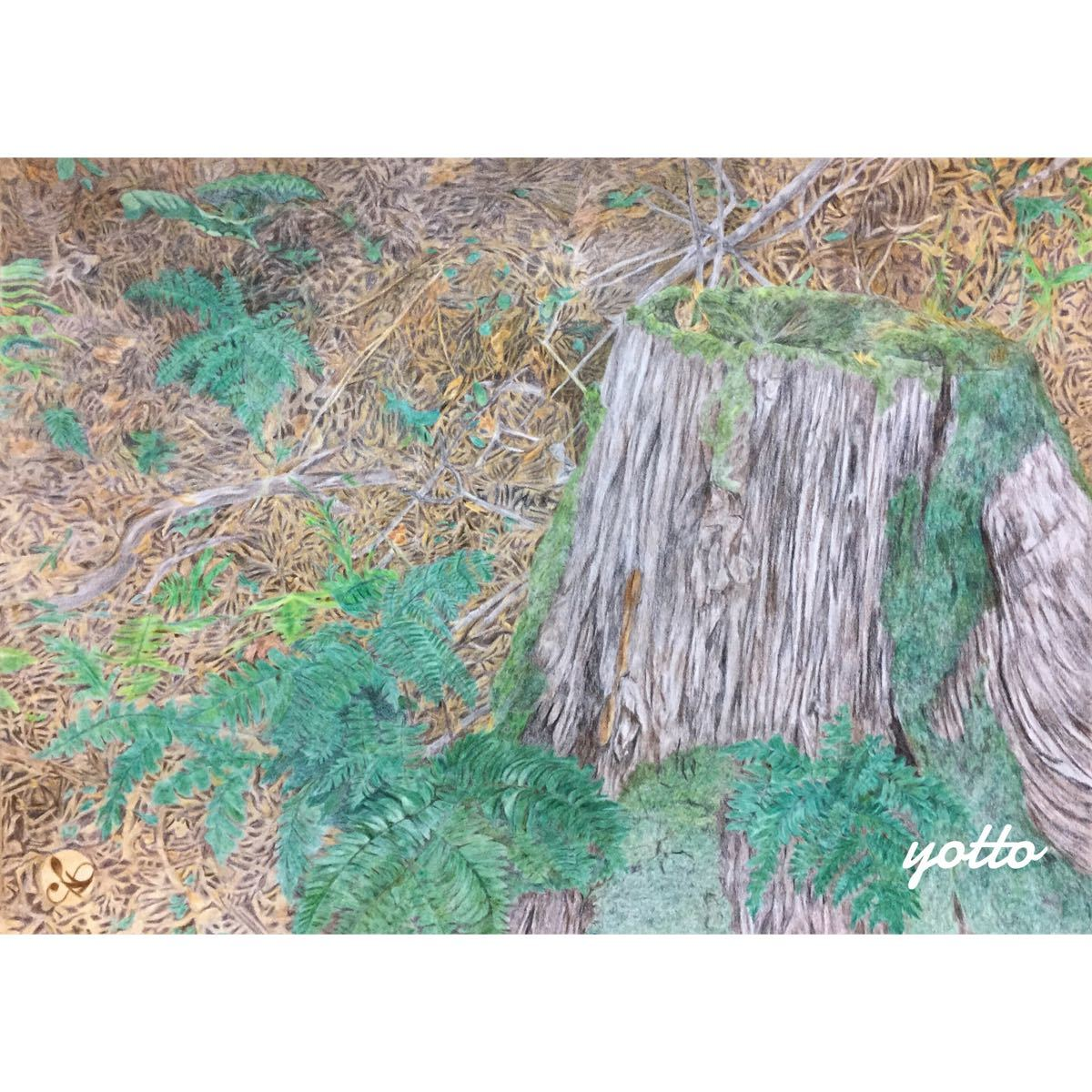 色鉛筆画・3部作「 銘 」「 盃 」「 結 」B4・額付き◇◆手描き◇原画◆風景画◇◆yotto_画像2