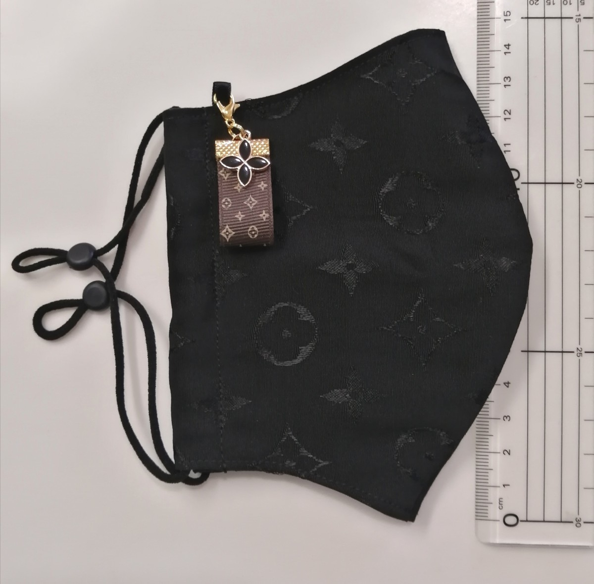 立体インナー ノーブランド モノグラム柄 ハンドメイド ブラック大きめサイズ ゴムストッパー付き